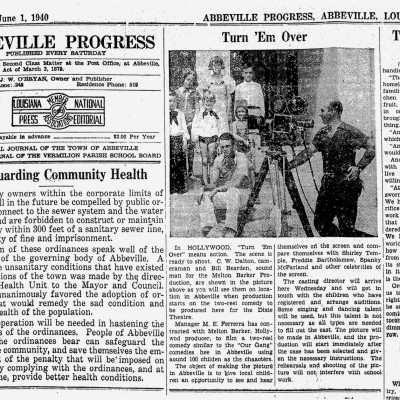 Abbeville Progress, June 1, 1940, courtesy of Lloyd Doré III