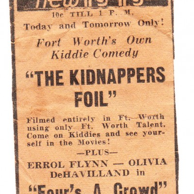 Ad for The Kidnappers Foil at the New Isis Theatre in Ft. Worth, courtesy of Karen Prigmore