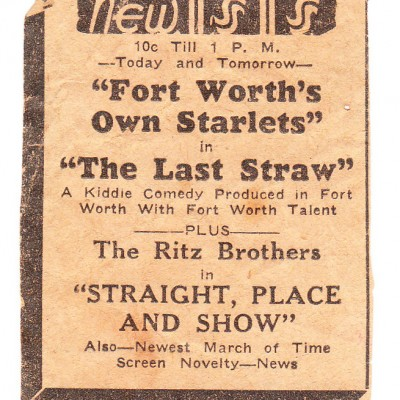 Ad for The Last Straw at the New Isis Theatre in Ft. Worth, courtesy of Karen Prigmore