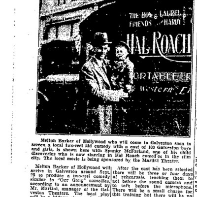 """Kid Movie to be Made in Galveston"" Galveston Daily News, September 16, 1937"