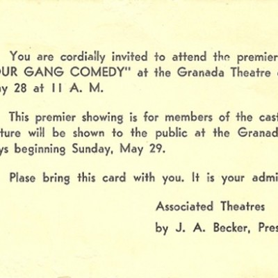 Cast-Only Invitation to Independence Missouri screening 1949, courtesy of Tina Thompson