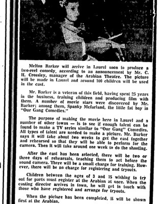 """Children Will Star in Movies"" Laurel Leader-Call, January 28, 1969"
