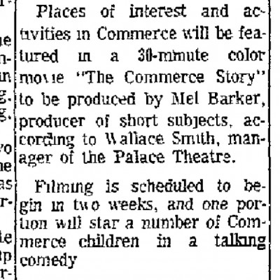 """Movie to Tell Commerce Story,"" The Commerce Journal, April 13, 1967, courtesy of Jim Faires"