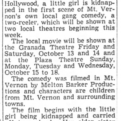 Mt. Vernon Register-News, October 10, 1950, courtesy of James Breig