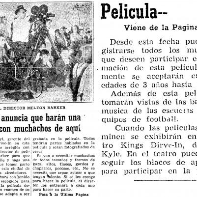 """""""Mr. Kyle Anuncia que Harán una Película con Muchachos de Aquí"""" Notas de Kingsville, October 18, 1951"""