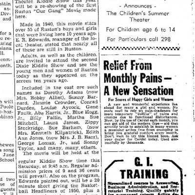 """Dixie Plans Showing of First 'Our Gang' Movie Made in Ruston"" Ruston Daily Leader, June 8, 1950, courtesy of Dave Hogg"