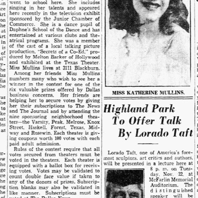 "Story on Katherine Mullins, star of Barker's ""Secrets of a Co-Ed"" Dallas Morning News, October 26, 1932"