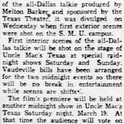 """Shoot First Scenes in All-Dallas Film"" Dallas Morning News, October 10, 1932"