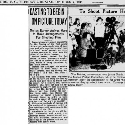 """Casting to Begin on Picture Today"" Spartanburg Herald-Journal, October 7, 1941"