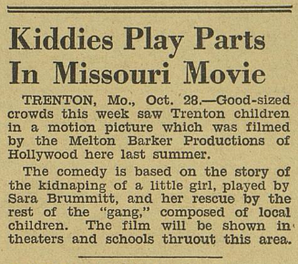 """Kiddies Play Parts In Missouri Movie,"" November 4, 1939"