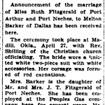 Ruth Fitzgerald and Barker's wedding announcement featured in The Port Arthur News on Sunday, May 3, 1936