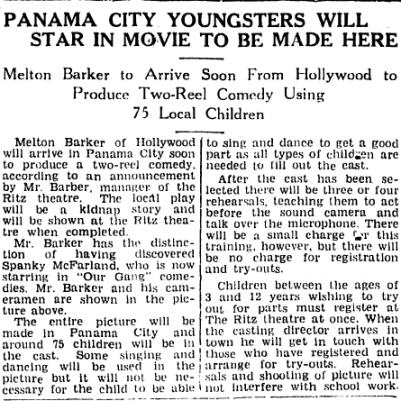 """Panama City Youngsters Will Star in Movie to be Made Here"" Panama City News Herald, March 25, 1939, courtesy of Sam Burns"