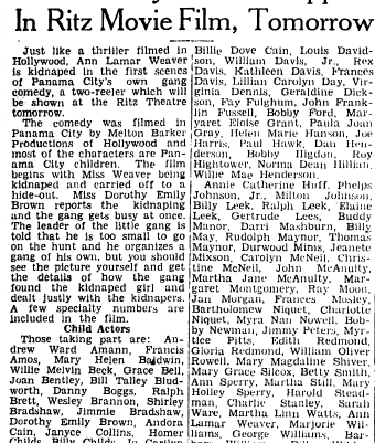 """Panama City Children Appear in Ritz Movie Film, Tomorrow"" Panama City News Herald, April 25, 1939, courtesy of Sam Burns"