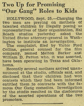 """Two up for promising 'our gang' roles to kids, October 2, 1937"