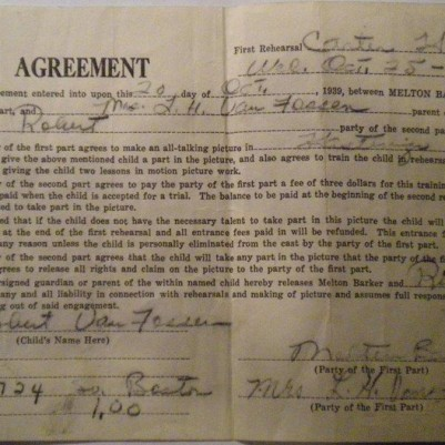 Agreement for Hastings, NE film, 1939, courtesy of Kevin Caid