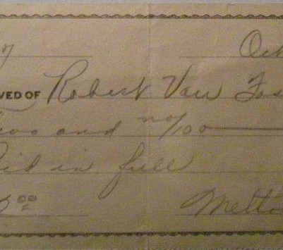 Receipt for Hastings, NE film, 1939, courtesy of Kevin Caid