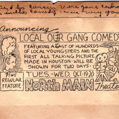 Flyer for Houston, TX film, October 1937, courtesy of Justine Henley